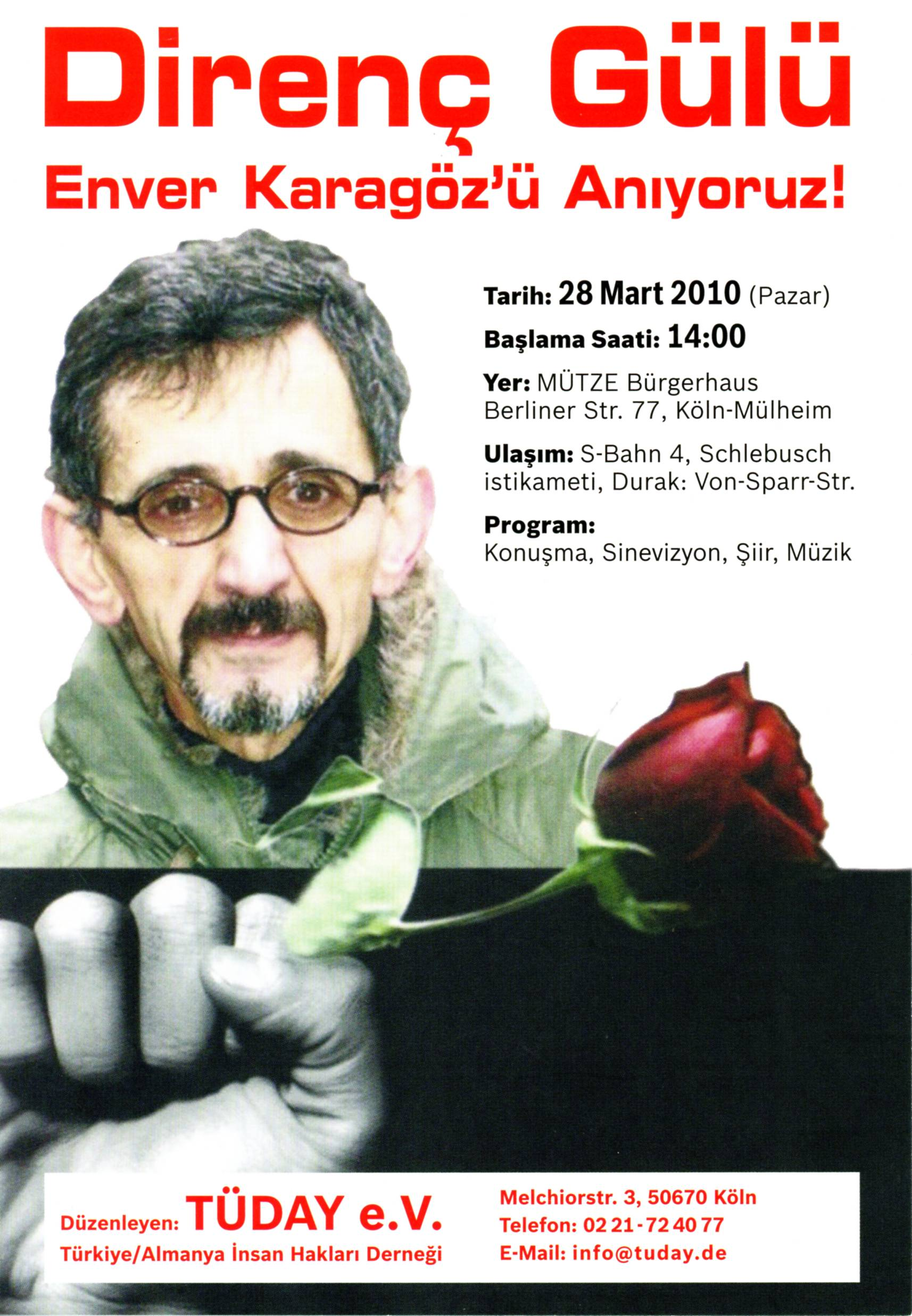 Flyer for a memorial service commemorating the death of human rights activist Enver Karagöz, Cologne, 2010 © DOMiD-Archiv, Köln, E 1139,0044