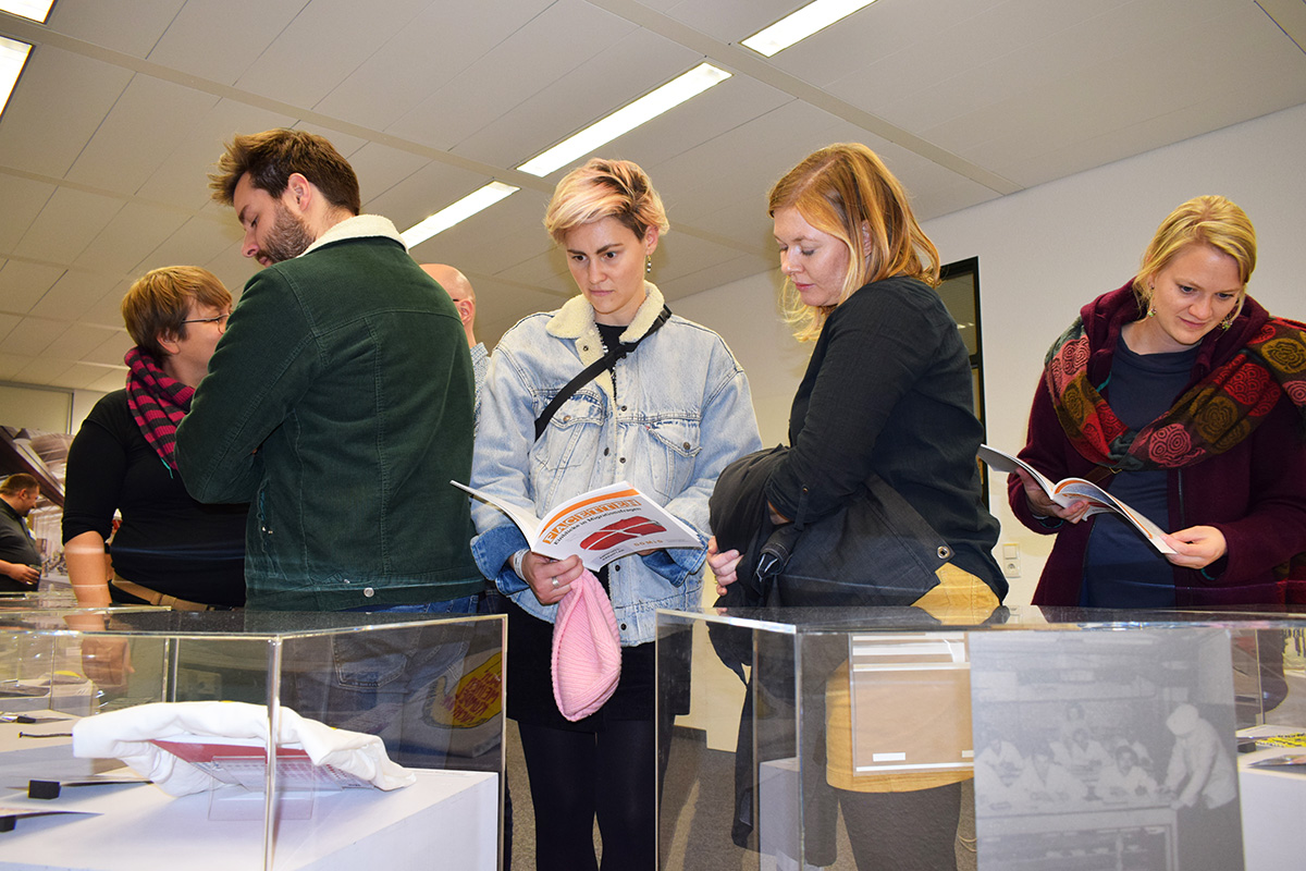 "Visitors to the DOMiD exhibition ""Facetten"" during the Museum Night Cologne 2019."