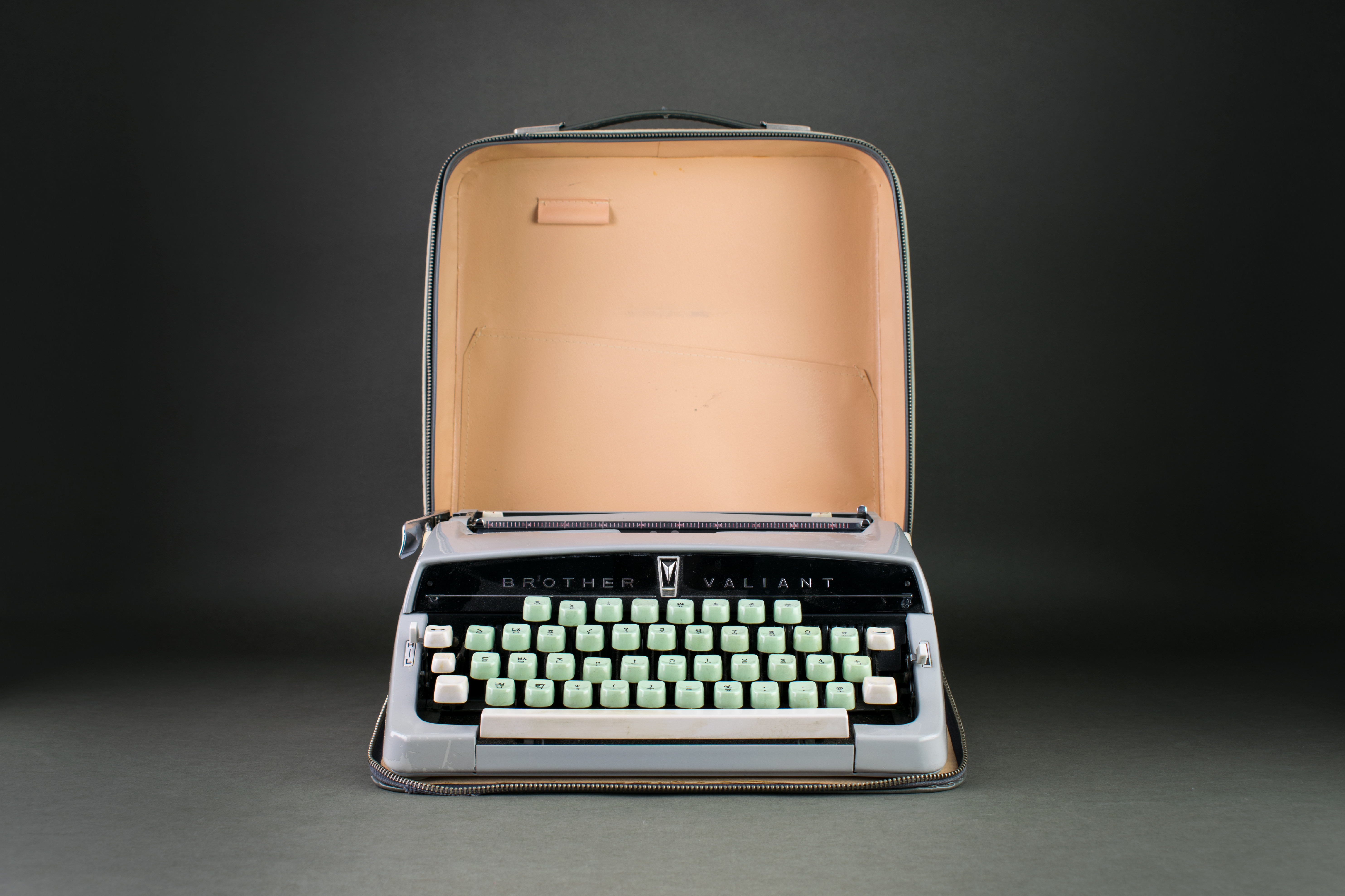 Typewriter of pediatrician and radiologist Sukil Lee, 1960s. Radioligist and pediatrician and radiologist Dr. Sukil Lee initiated the recruitment of South-Korean nurses to Germany. He was working at the University-Clinic of Mainz. On this typewriter, Dr.Lee wrote the entire correspondence for the recruitment of Korean nurses during the 1960s. DOMiD-Archive, Cologne, E 1359,0046